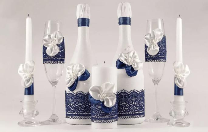 Украшение свадебных бутылок своими руками и разными способами