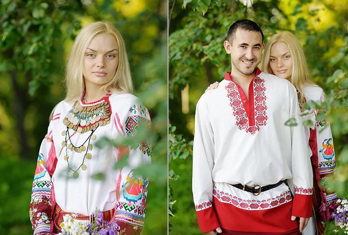 жених и невеста на мордовской свадьбе