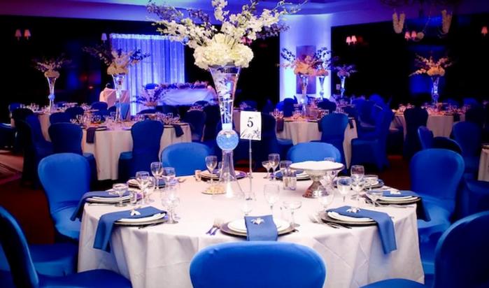 свадебный стол в синем