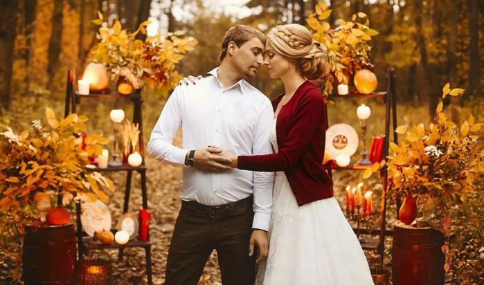 жених и невеста в осеннем лесу