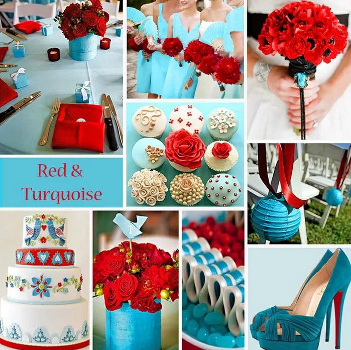сочетание голубого и красного цвета