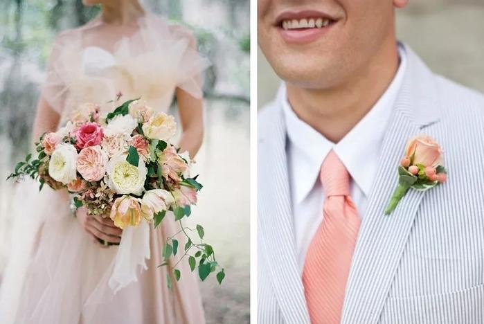 жених в персиковом галстуке