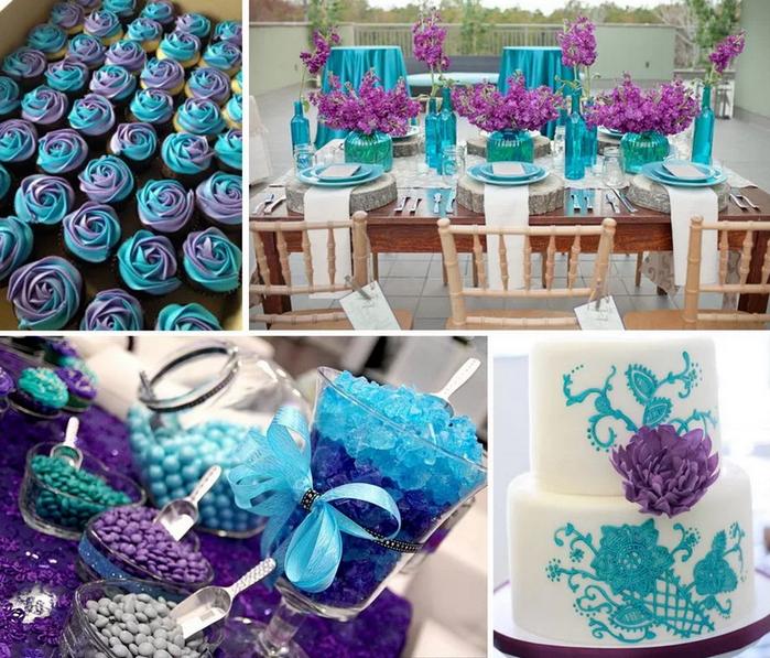 сочетание бирюзового и фиолетового цветов