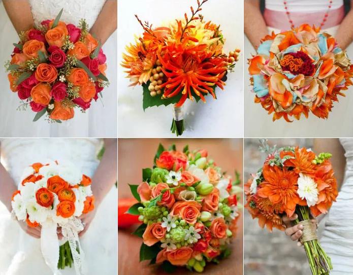 букеты невесты с оранжевыми цветами
