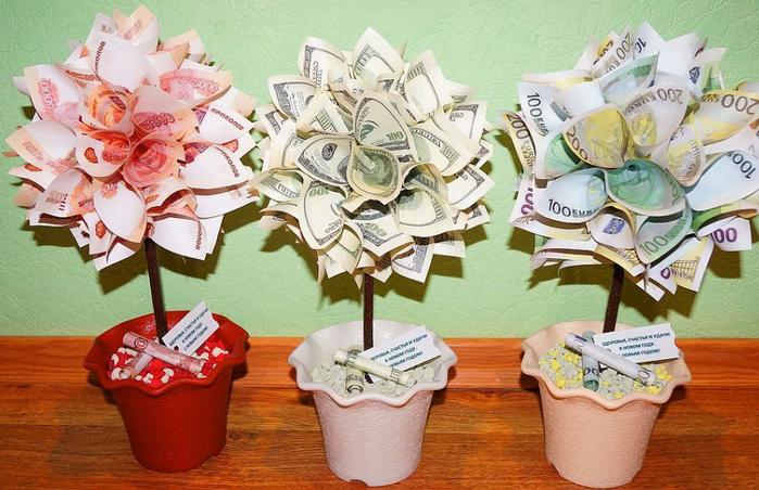 цветы из денег