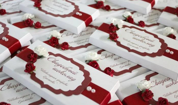 шоколад на свадьбу в подарок гостям